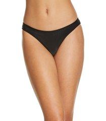 women's frankies bikinis dawson ribbed bikini bottoms, size large - black