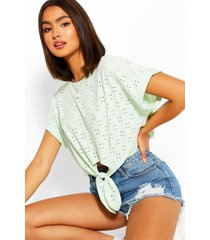 broderie anglaise tie front crop top, mint