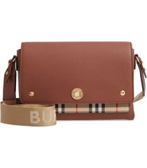 burberry note leather & vintage check crossbody bag - brown