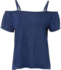 maglia lucida con spalle scoperte (blu) - bodyflirt