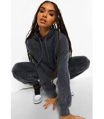 acid wash gebleekte oversized hoodie met naaddetail