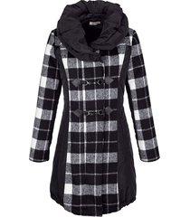 gewatteerde jas alba moda zwart::wit