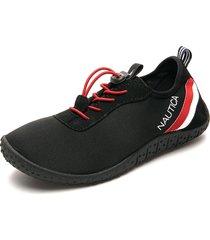 tenis negro-rojo-blanco nautica