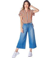 jean culotte dobladillo ancho azul medio claro