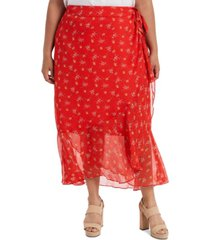 vince camuto plus size printed wrap skirt