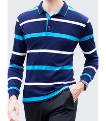camicia da golf casual da uomo a maniche lunghe in cotone a righe manica lunga 100% cotone