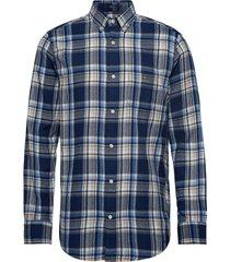 d2. wb flannel indigo reg bd overhemd casual blauw gant