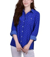ny collection petite 3/4 sleeve roll tab notch collar blouse