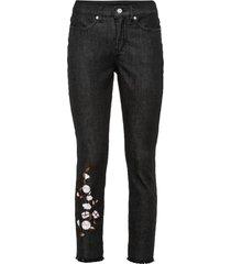 graziosi pantaloni elasticizzati ricamati con poliestere riciclato (nero) - bodyflirt