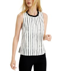 alfani striped knit-trim top, created for macy's