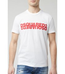 dsquared2 men's mirror logo t-shirt - white/red - m