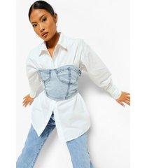 petite 2-in-1 korset met cup detail en blouse, bleach wash