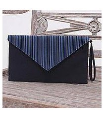 cotton wristlet, 'lurik amplop black' (indonesia)