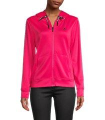 karl lagerfeld paris women's logo hooded jacket - bright rose - size xxs