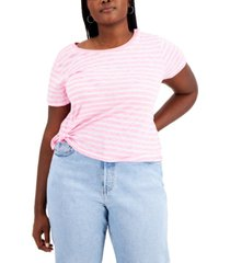rebellious one trendy plus size striped side-tie t-shirt
