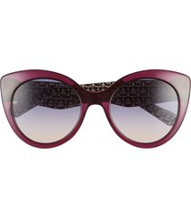 women's salvatore ferragamo classic 54mm gradient cat eye sunglasses - crystal violet/ violet rose