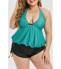 contrast stripes cinched side halter plus size tankini swimsuit