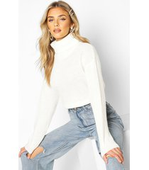 cropped fisherman roll neck sweater, cream
