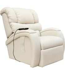 poltrona do papai reclinável elétrica com controle sala de estar oasis couro bege - gran belo