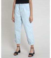 calça jeans feminina balloon cintura super alta com barra dobrada azul claro