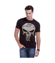 camiseta masculina com estampa justiceiro avengers - plus size | o justiceiro | preto | eg ii