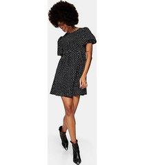 black and white spot babydoll dress - monochrome
