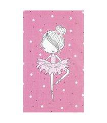 toalha de banho infantil döhler estampada de poá com bailarina rosa
