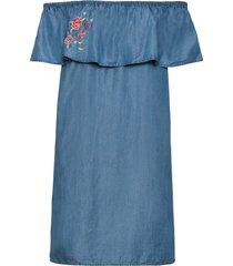 abito con spalle scoperte e ricamo in lyocell tencel® (blu) - bodyflirt