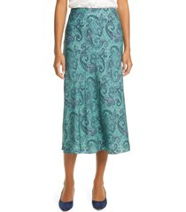 women's rebecca taylor margaux paisley silk blend midi slip skirt, size small - green