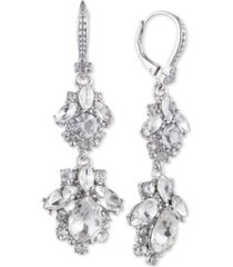 marchesa crystal cluster double drop earrings