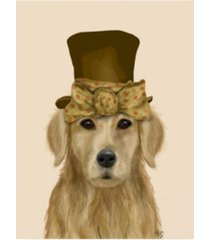"fab funky golden retriever, hat and bow canvas art - 15.5"" x 21"""