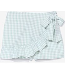 womens it's shaping up gingham ruffle skort shorts - mint