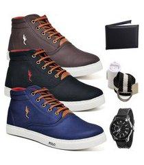kit 3 pares sapatênis polo blu casual café/preto/azul acompanha cinto + meia + carteira + relógio