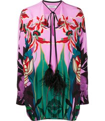 valentino feather-embellished mirrored orchid ramage blouse - pink