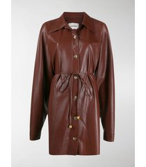nanushka joy faux leather shirt dress