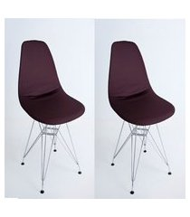kit com 02 capas para cadeira de jantar eiffel wood marrom