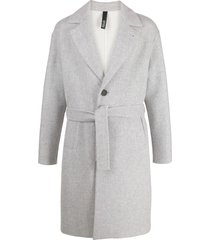hevo single-breasted belted coat - grey