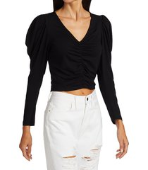 frame women's agnes puff-sleeve ruched crop top - noir - size s