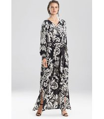 mantilla scroll maxi dress, women's, black, silk, size xs/s, josie natori