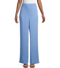 theory women's silk wide-leg pants - light marine - size xl