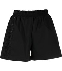 ermanno scervino perforated lace-detail cotton shorts - black