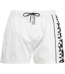 balmain logo print swim shorts - white