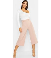 crepe d-ring culottes, stone