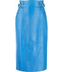 alberta ferretti high-waisted leather skirt - blue