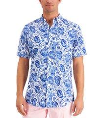 club room men's regular-fit stretch moisture-wicking floral-print poplin shirt