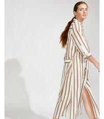 vestido beige portsaid midi linen atlantis