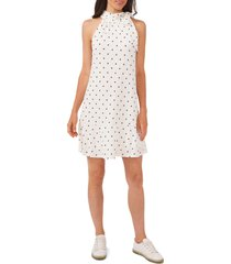 cece polka dot high neck knit a-line dress, size small in soft ecru at nordstrom