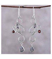 garnet and amethyst chandelier earrings, 'modern ivy' (india)