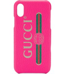 gucci vintage logo print iphone x case - red