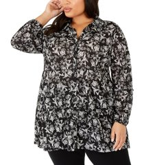 style & co plus size floral-print peplum blouse, created for macy's